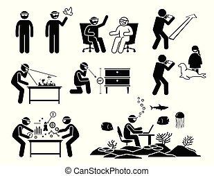vervelend, mensen, bril, realiteit, toekomst, koptelefoon, gebruik, spectacles., augmented