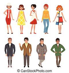 vervelend, mode, 60, mensen, set, ouderwetse , mannen, jonge...