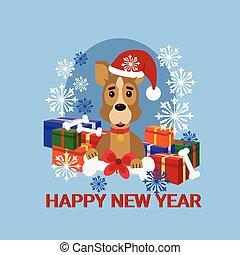 vervelend, op, groet, dog, kadootjes, kerstman, jaar, nieuw, hoedje, stapel, kaart, vrolijke