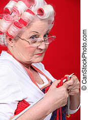 vervelend, oude dame, haar, breiwerk, walzen