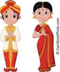 vervelend, paar, traditionele , indiaans kostuum, spotprent