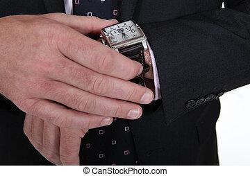 vervelend, pols, mannelijke , horloge