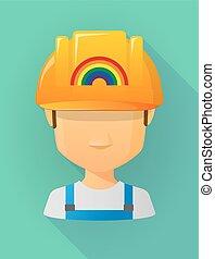 vervelend, regenboog, helm, arbeider, veiligheid, avatar, mannelijke