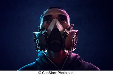 vervelend, respirator vermomming, man