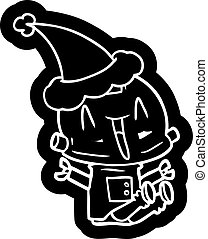 vervelend, robot, kerstmuts, spotprent, pictogram