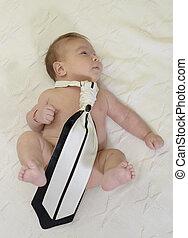 vervelend, schattig, geboren, black , nieuwe baby, vastknopen, witte