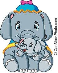 vervelend, schattig, weinig; niet zo(veel), blauwe , elefant, hoedje, spelend, vrolijke