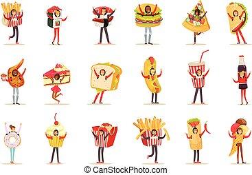 vervelend, set, verkapt, hapjes, voedingsmiddelen, menu, mensen, kostuums, vasten, karakters, items, koffiehuis, spotprent
