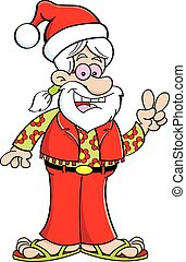 vervelend, spotprent, hippie, kerstman, hat.