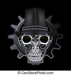 vervelend, steampunk, hoge hoed, schedel