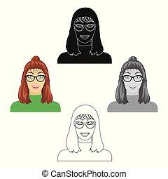vervelend, stijl, spotprent, web., symbool, uiterlijk, s, glasses., gezicht, enkel, vector, illustratie, meisje, pictogram, liggen