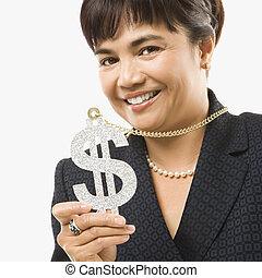 vervelend, teken., vrouw, dollar