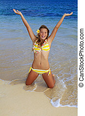 vervelend, tiener, lei, hawaii, bikini, meisje, strand