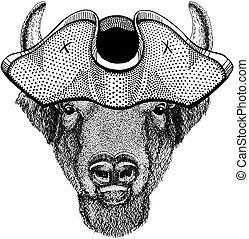 vervelend, tricorn, stier, bizon, costume., buffel, hat., zeerover, capitan