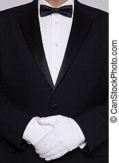 vervelend, tuxedo, witte , man, gloves.