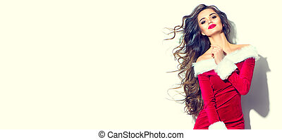 vervelend, vrouw, beauty, jonge, girl., brunette, kerstman, sexy, model, jurkje, kerstmis, rood