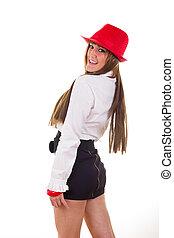 vervelend, vrouw, hemd, rok, moderne, halssnoer, hoedje, rood