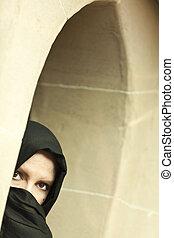 vervelend, vrouw, islamitisch, venster, voorzichtig, burqa, ...
