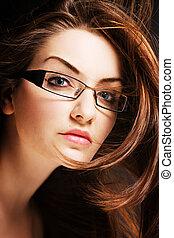 vervelend, vrouw, jonge, bril