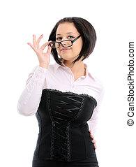 vervelend, vrouw, jonge, haar, bril