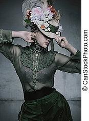 vervelend, vrouw, oud, beauty, fashioned, jurkje
