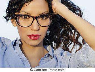 vervelend, vrouw, retro, bril