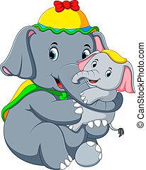 vervelend, weinig; niet zo(veel), gele, zo, elefant, plezier, hoedje, spelend