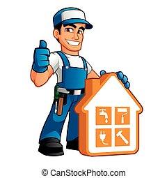 vervelend, werken, handyman, kleren