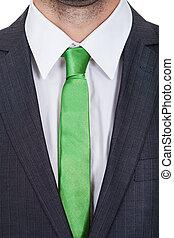 vervelend, zakenman, groene, vastknopen