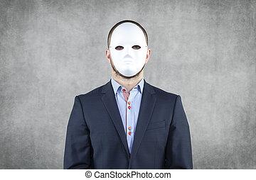 vervelend, zakenman, masker, verticaal