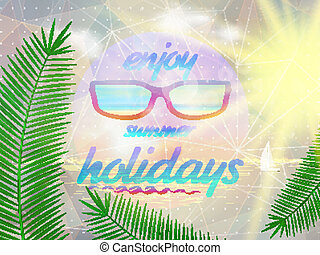 vervelend, zomer, sunglasses., hemel, zon