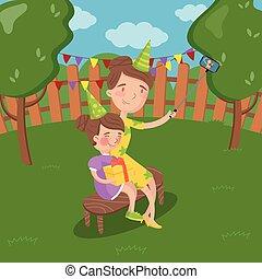vervelend, zomer, tuin, dochter, haar, foto, selfie, illustratie, vector, boeiend, moeder, partij hoeden, landscape