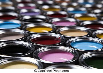 verven, blikjes, verzameling, gekleurde