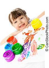 verven, meisje, schilderij, vinger, vrolijke