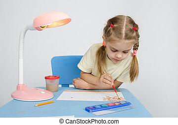 verven, meisje, tafel, zittende