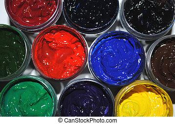 verven, potten, gekleurde