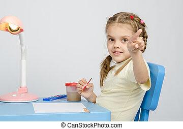 verven, punten, vinger, meisje, schilderij, tafel