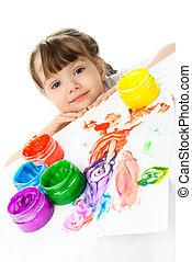 verven, weinig; niet zo(veel), schilderij, vinger, meisje