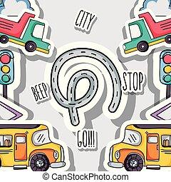 vervoer, communie, ontwerp, patches, achtergrond