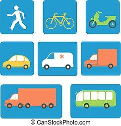 vervoer, elements., iconen, illustratie, vector, ontwerp