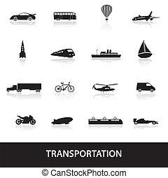 vervoer, eps10, iconen