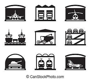 vervoer, garages