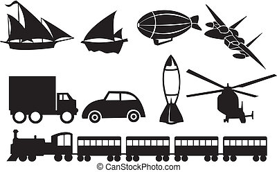vervoer, iconen, tegen, zwarte achtergrond, witte