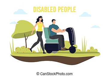vervoer, invalide, vector, mensen, beweeglijkheid