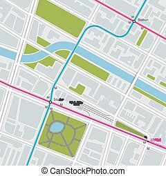 vervoer, kaart, stad, plan