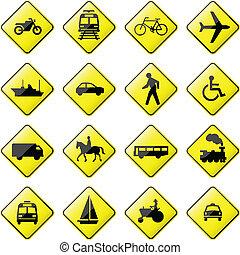 vervoer, meldingsbord, straat