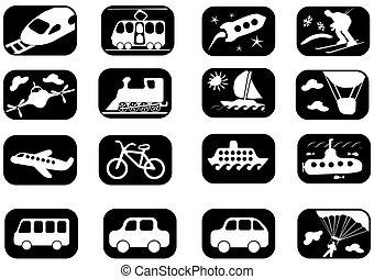 vervoer, pictogram, set