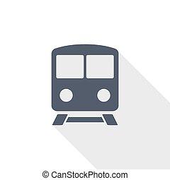 vervoer, plat, metro, spoorweg, vector, illustratie, trein, ontwerp, concept, pictogram
