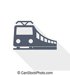 vervoer, plat, trein, vector, illustratie, ontwerp, concept, pictogram, spoorweg