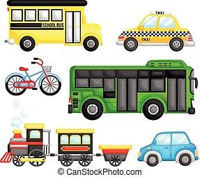 vervoer, vector, set, land